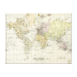 Mapa antiguo del mundo lona estirada galerias
