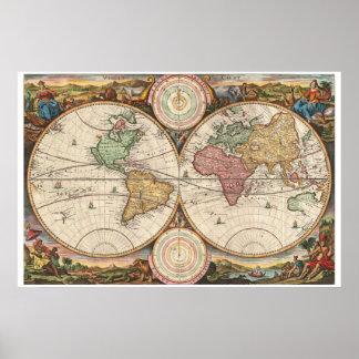 Mapa antiguo del mundo posters