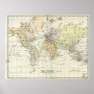Mapa antiguo del mundo poster