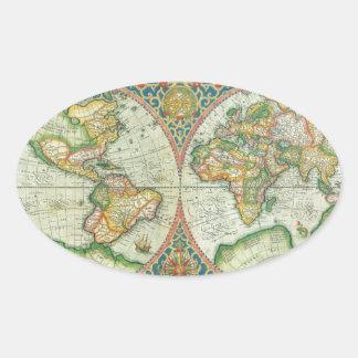 Mapa antiguo del mundo pegatina ovalada