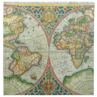 Mapa antiguo del mundo servilleta de papel