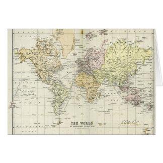 Mapa antiguo del mundo tarjeton