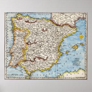 Mapa antiguo del poster de la península ibérica