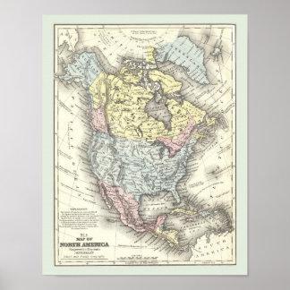 Mapa antiguo del poster de Norteamérica
