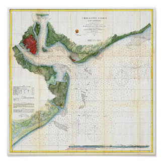 Mapa antiguo del puerto Carolina del Sur de Charle Poster