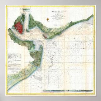 Mapa antiguo del puerto Carolina del Sur de Charle Póster
