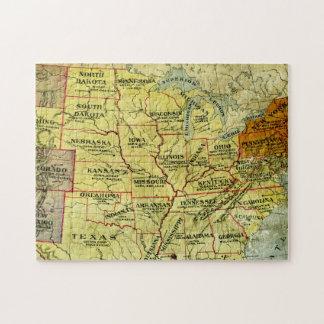 Mapa antiguo del rompecabezas de Estados Unidos