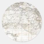 Mapa antiguo del vintage de la África del Norte Pegatina Redonda