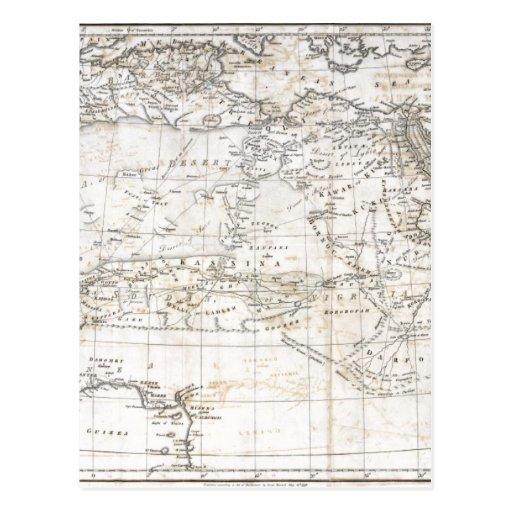 Mapa antiguo del vintage de la África del Norte Postal