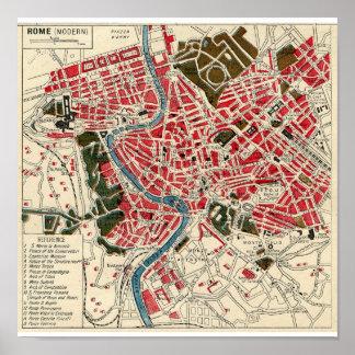 Mapa antiguo del vintage de Roma Póster