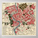 Mapa antiguo del vintage de Roma Posters