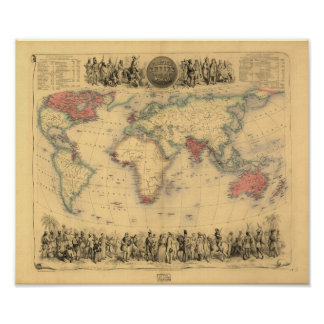 Mapa antiguo - el Imperio británico 1850 Póster