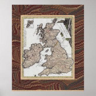 Mapa antiguo elegante de Gran Bretaña, Irlanda Impresiones