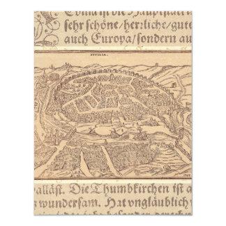 Mapa antiguo elegante de Sevilla/de Sevilla España Invitación 10,8 X 13,9 Cm