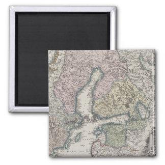 Mapa antiguo escandinavo imán cuadrado