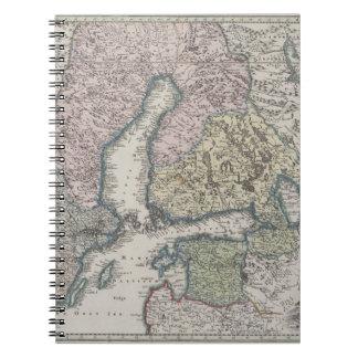 Mapa antiguo escandinavo libreta espiral