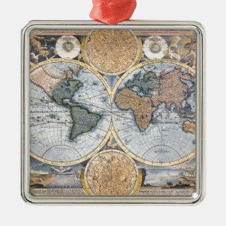 Mapa antiguo hermoso del atlas adorno navideño cuadrado de metal