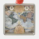 Mapa antiguo hermoso del atlas ornaments para arbol de navidad