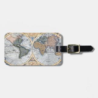Mapa antiguo hermoso del atlas etiqueta para equipaje