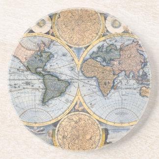 Mapa antiguo hermoso del atlas posavaso para bebida