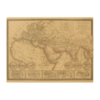 Mapa antiguo impresiones en madera