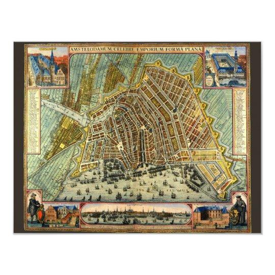 Mapa antiguo invitación de Amsterdam, Holanda