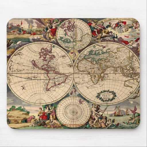 Mapa antiguo Mousepad de Justus Danckerts Tapetes De Ratones