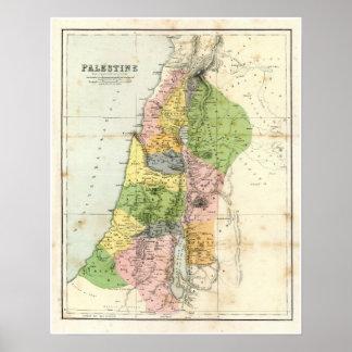 Mapa antiguo - Palestina bíblica Poster
