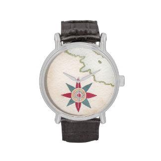 mapa antiguo reloj de mano
