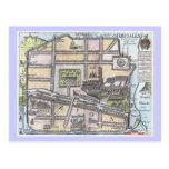 Mapa antiguo restaurado raro de Jerusalén Tarjeta Postal