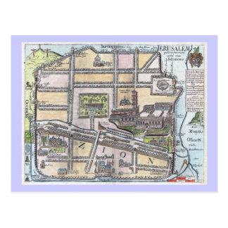 Mapa antiguo restaurado raro de Jerusalén Postal