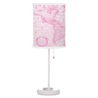 Mapa antiguo rosado de la lámpara de la decoración