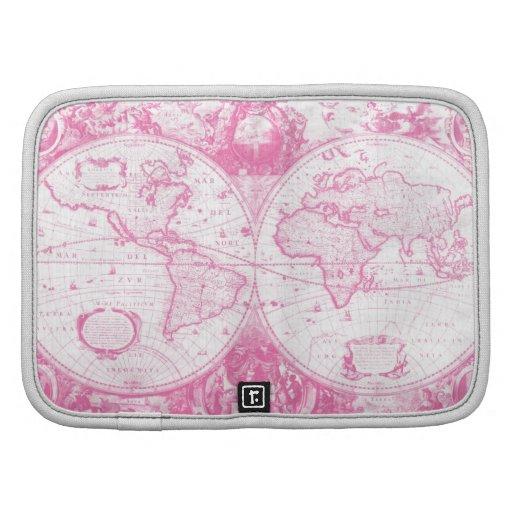 Mapa antiguo rosado del mundo organizadores
