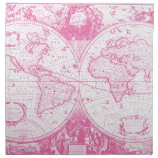 Mapa antiguo rosado del mundo servilleta imprimida