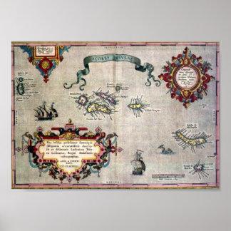 Mapa antiguo viejo de la reproducción de Azores a Impresiones