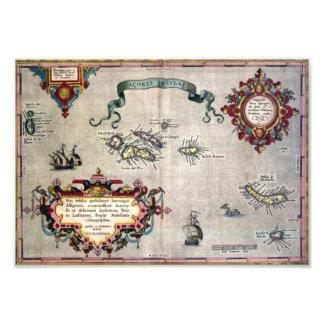 Mapa antiguo viejo de la reproducción de Azores a Fotografias