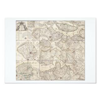 """mapa aplanado 9 de la provincia de Zelanda Invitación 5"""" X 7"""""""
