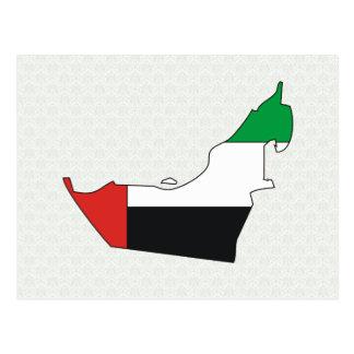 Mapa árabe de la bandera de los emiratos del mismo postal