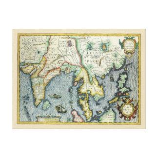 Mapa asiático antiguo del siglo XVII, Impresiones En Lienzo Estiradas