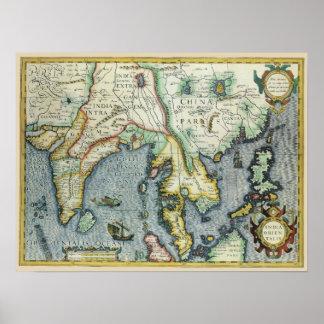 Mapa asiático antiguo del siglo XVII, Poster
