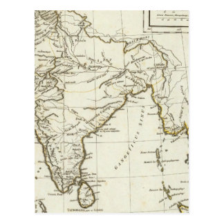 Mapa asiático del sur clásico postal