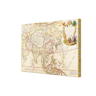 Mapa asiático del vintage impresiones en lienzo estiradas