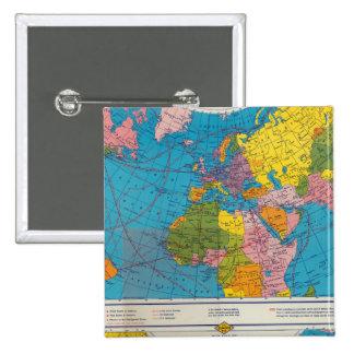 Mapa Atlántico, Eurasia, África, Océano Pacífico d Pin Cuadrada 5 Cm
