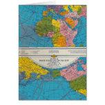 Mapa Atlántico, Eurasia, África, Océano Pacífico d Tarjeta De Felicitación