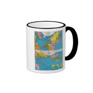 Mapa Atlántico, Eurasia, África, Océano Pacífico d Taza