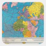Mapa Atlántico, Eurasia, África, Océano Pacífico Pegatina Cuadrada