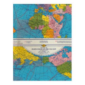 Mapa Atlántico, Eurasia, África, Océano Pacífico Tarjetas Postales