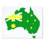 Mapa australiano de la bandera invitación 10,8 x 13,9 cm