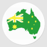 Mapa australiano de la bandera pegatina redonda