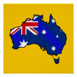 Mapa australiano de los regalos de la bandera de A Poster